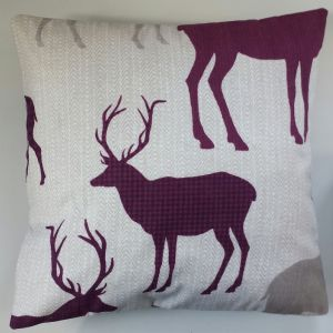 "Stag/Deer Reindeer and Purple Tartan Cushion Cover 16"" x 16"""